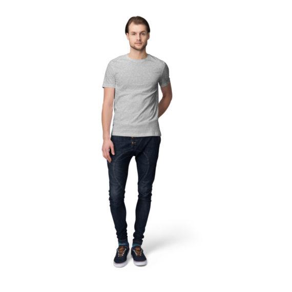 Melange-Grey Back Men Half Sleeves