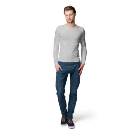 Men Full Sleeve Round Neck Melange Grey