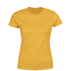Women half sleeve Solid Plain Golden yellow