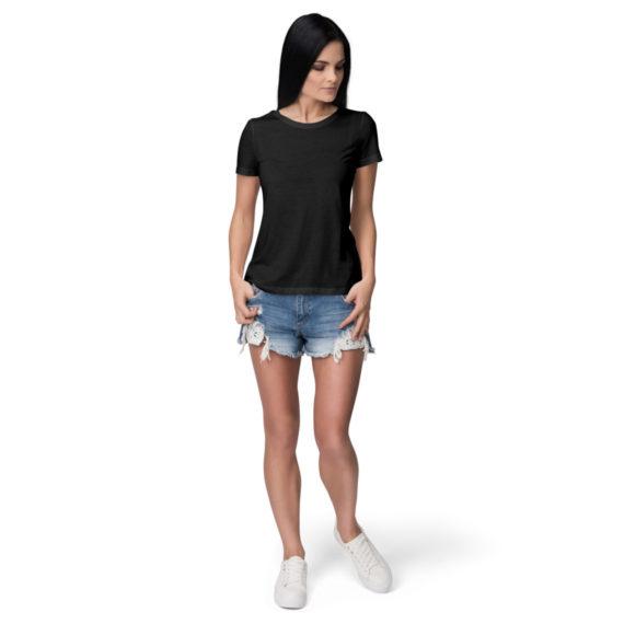 Women half sleeve Solid Plain Black