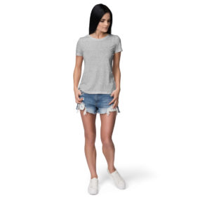 Women half sleeve Solid Plain Melange Grey