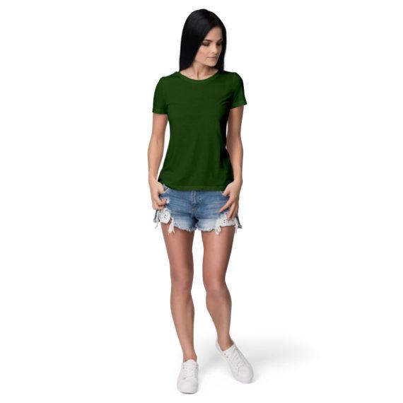 Women half sleeve Solid Plain Olive Green