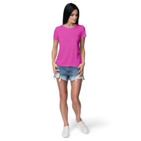 Women half sleeve Solid Plain Pink