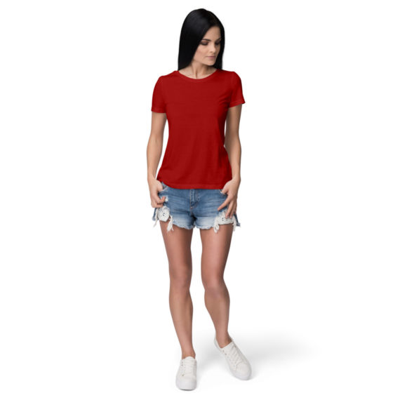 Women half sleeve Solid Plain Red